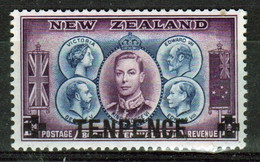 New Zealand 1944 single 10d Overprint  Stamp In Mounted Mint. - Unused Stamps