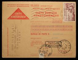 76 - Rouen Carte Postale Contre Remboursement Pour Pommier (Aisne) Avec Retour à L'envoyeur - 1959 - Annullamenti Meccaniche (Varie)