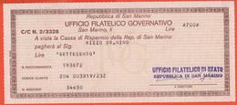 Ufficio Filatelico Di San Marino - 1977 - Assegno - Non Incassato - Cassa Di Risparmio Della Rep. Di San Marino - Assegni & Assegni Di Viaggio