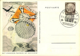 """1941, """"Mit Unseren Fahnen Ist Der Sieg"""", Komplette Serie Von 8 Ganzsachenkarten Blanko Mit Verschiedenen Sonderstempeln - Enteros Postales"""