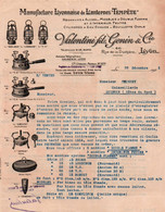 """Facture - LYON - Manufacture Lanternes """"Tempête"""" Réchauds … Ets VALENTINI GENIN & Cie - 1923 - Elektrizität & Gas"""