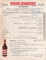 Facture ALCOOL - LE HAVRE - RHUM CHAUVET - 1953 - Alimentos