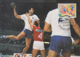 Carte  Maximum  1er  Jour    ILES   FEROE     HAND - BALL    1989 - Pallamano
