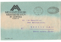 "Brief, Freistempel, Leipzig ""Messeamt Für Die Mustermessen In Leipzig"", 1921 - Covers & Documents"