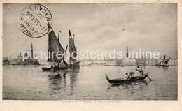 VENICE FROM THE LAGOON OLD B/W POSTCARD HONG KONG STAMP AND POSTMARK 1905 AND MACAU POSTMARK INTERESTING - Venetië (Venice)