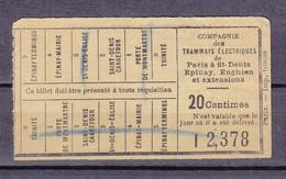 CIE DES TRAMWAYS DE PARIS BILLET 20C - Europe