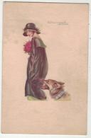 Illustrateurs  Signés  //  Femme Avec Son Compagnon, Le Chien - Altre Illustrazioni
