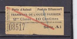CIE DES TRAMWAYS DE PARIS  GARE AUTEUIL - Europe