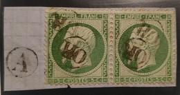 France Paire N° 20 Yvert Sur Petit Fragment Oblitéré OR + Cachet Du Facteur Rare Sur Cette Valeur Signé Roumet - 1862 Napoleon III