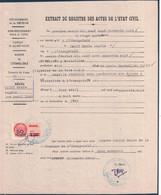 1963 - TIMBRE FISCAL À 50F Sur 1F00 NF SURCHARGÉ RÉUNION Sur EXTRAIT D'ACTE DE NAISSANCE COMMUNE ETANG SALÉ - Revenue Stamps