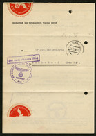 DT.REICH 1938, AUSZUG AUS DEM STRAFREGISTER, KBS KIEL UND ROTES PAPIERSIEGEL - Used Stamps