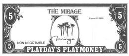 Mirage Casino - Las Vegas, NV - Paper $5 Play Money Opening Day Bill - Casino Cards