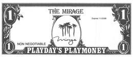 Mirage Casino - Las Vegas, NV - Paper $1 Play Money Opening Day Bill - Casino Cards