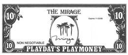 Mirage Casino - Las Vegas, NV - Paper $10 Play Money Opening Day Bill - Casino Cards