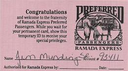 Ramada Express Casino - Laughlin, NV - Paper Temp Card - Casino Cards