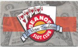 Beanos Slot Club Las Vegas, NV - Laminated Paper ID Card - Casino Cards