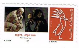 Nouvelle Caledonie Timbre Personnalise Prive Stark Timbramoi Mathematique Cogito Ergo Sum Singe Penseur Rodin Neuf UNC - Neufs