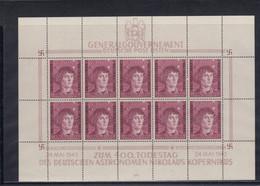 GG Generalgouvernement MiNr. 104 **, Kleinbogen I/4, Gebrochene Achse, Leerfelder Unten - Bezetting 1938-45