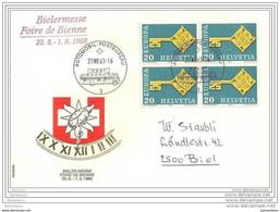 """89 - 80 - Enveloppe Avec Oblit Spéciale """"Foire De Bienne 1968"""" - Postmark Collection"""