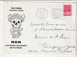 """Lettre Illustrée """"Tête De Mort"""" Et """"Fleurs De Tiaré"""": Polynésie, Paradis Perdu / Non Aux Essais Nucléaires En Polynésie - Protection De L'environnement & Climat"""