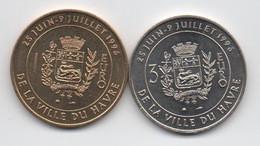 Lot De 2 Pièces UNC : 1 Euro & 3 Euro De La Ville Du Havre 1996 : Pont De Normandie - Euro Delle Città