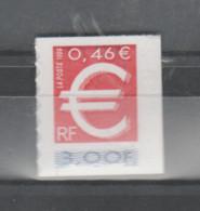 FRANCE / 1999 / Y&T N° 3215 ** Ou AA 24 ** : TP Sigle Euro (de Carnet Adhésif) X 1 Avec Inter-panneau à D - Sellos Autoadhesivos