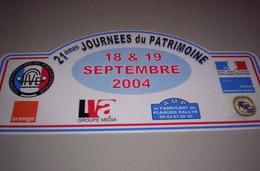 Collection Plaque Rallye 21e Journée Du Patrimoine 18-19 Septembre 2004 - Targhe Rallye