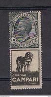 REGNO:  1924/25  CORDIAL  CAMPARI  -  15 C. GRIGIO  E  NERO  N.  -  SASS. 3 - Publicity