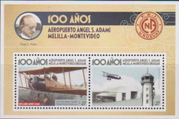 URUGUAY, 2020, MNH,PLANES, AIRPORTS, AEROPUERTO ÁNGEL S. ADAMI, MELILLA MONTEVIDEO, S/SHEET - Airplanes