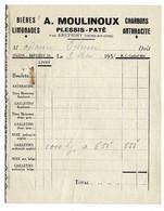 FACTURE-COURRIER- LETTRE : A.MOULINOUX à Plessis-paté , Bières Limonade Charbons Anthracite . - 1900 – 1949