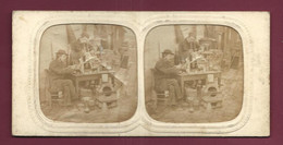 270621A - PHOTO ANCIENNE STEREO COLORISEE TRANSPARENCE CONTRE LUMIERE Scène Artisanat Artisan Four Brique Essai - Stereo-Photographie