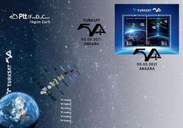 Turkey 2021 FDC  TÜRKSAT 5A Satellite Space Espace - Europe