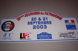 Collection Plaque Rallye 20e Journée Du Patrimoine 20-21 Septembre 2003 - Targhe Rallye
