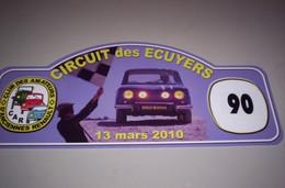 Collection Plaque Rallye Club CAR Circuit Des ECUYERS 13/03/2010 - Targhe Rallye