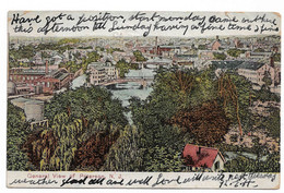 Postcard USA NJ New Jersey General View Paterson Buildings River Bridges British Immigrant ? Posted Castleford UK 1908 - Paterson