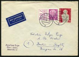 BUND 1956 BRIEF MIT W6  AUS H-BLATT + BERLIN 119 STPL-KBS PLÖN MIT LUFTAUFKLEBER - Covers & Documents