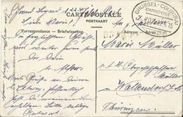 "20 010 Ak Assche Statie, Bahnpost ""BRÜSSEL-COURTRAI"" 1915 - Ocupación 1914 – 18"