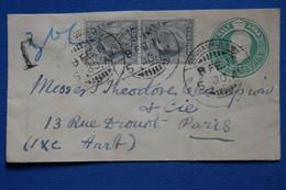 C INDIA  BELLE  LETTRE  RARE TAXEE  1930     VOYAGEE  A  PARIS  FRANCE +PAIRE ET BANDE DE T.P+ AFFRANC   INTERESSANT - 1902-11  Edward VII