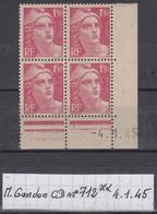 France Type Marianne De Gandon Y/T Coin Daté N° 712 Neuf ** Du 4.1.45 - 1945-54 Marianna Di Gandon
