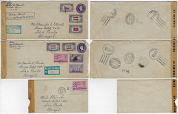 USA United States 1944 / 1945 3 Cover Sent To Brazil All With Censorship Label And Included Letter - Storia Postale