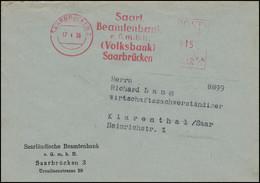 Absenderfreistempel Beamtenbank Volksbank SAARBRÜCKEN 17.4.56 N. Klarenthal/Saar - Other