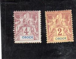 Obock: Année 1892  N°33** Et N° 34** - Ongebruikt