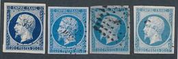 EC-383: FRANCE: Lot Avec N°14A (a,c,e,f)obl (paire, TB) - 1853-1860 Napoleone III