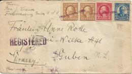 """20 017 Einschreiben USA Nach Guben, Rs. Bahnpost """"BERLIN-BRESLAU"""" 1924 - Covers & Documents"""