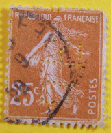 France - 1927 - Semeuse YT N° 235 - Perforé, Perfin - JF - Oblitéré - Gezähnt (Perforiert/Gezähnt)