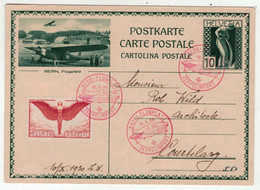 Suisse // Schweiz // Entiers Postaux // Entier Postal , Vol Zeppelin Du 12.10.1930 (Image Berne, Flugplatz) - Interi Postali