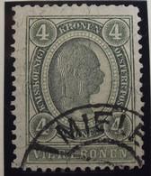 Österreich - Autriche - 1899 - Heller & Kr  - Soie -  Chiffr. Blanc - Dent 13.5 - N° 79 - 4 K - Gestempeld - Gebruikt