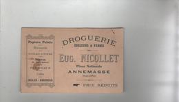 Droguerie Nicollet Annemasse Papiers Peints Brosserie Toiles Cirées Stores Plumeaux Colles Huiles Essence - Visitekaartjes