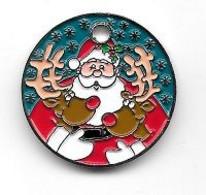 Jeton De Caddie ( Winkelwagen Token )  Néerlandais  Père  Noël  Avec  Ses  Animaux  RENNES  Recto  Verso - Jetons De Caddies
