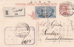 ITALIA - REGNO - TUORO (PG) - INTERO POSTALE C. 30 RACC. - RISPOSTA - FR.LLI. AGGIUNTI -VG PER TUORO TRASIMENO (PERUGIA) - Postwaardestukken